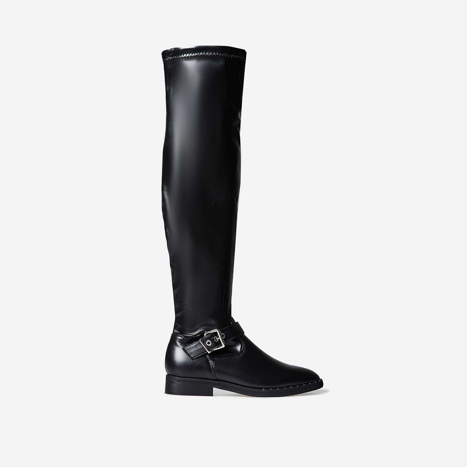 Anastasia Buckle Detail Long Boot In Black Faux Leather