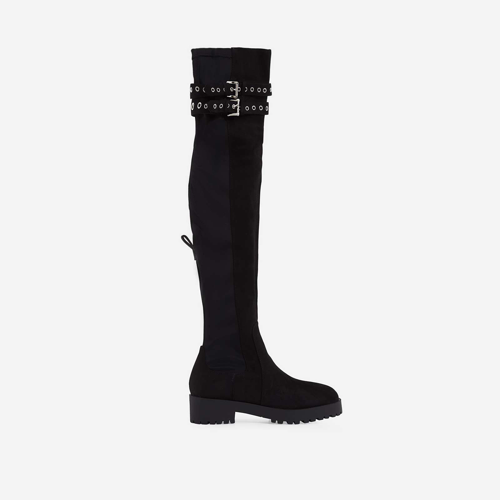 Yoel Over The Knee Long Boot In Black Faux Suede