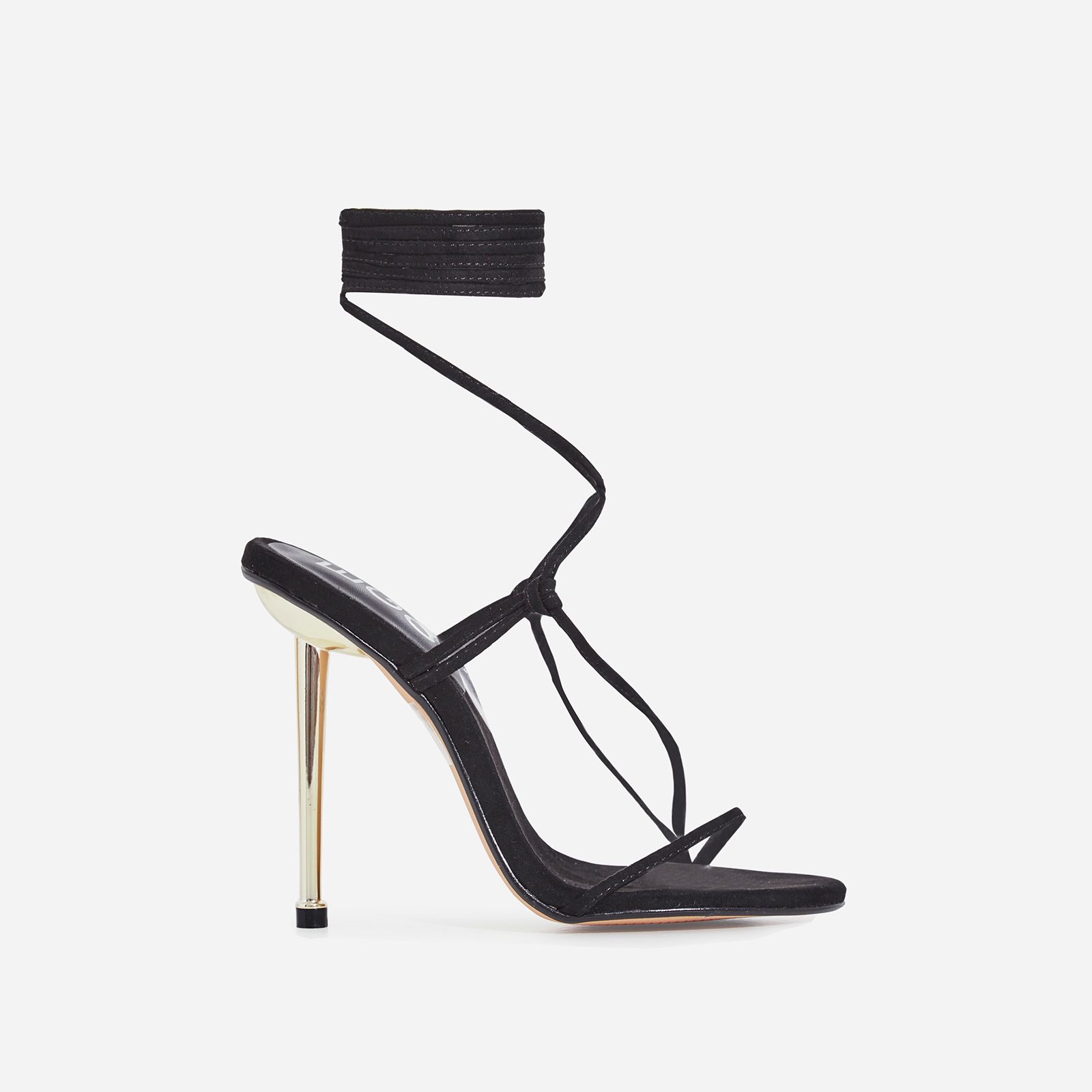 Zizi Lace Up Heel In Black Faux Suede